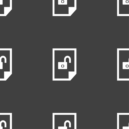 lockout: File unlocked icon sign. Seamless pattern on a gray background. Vector illustration