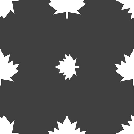 maple leaf icon: Maple leaf icon. Seamless pattern on a gray background. Vector illustration