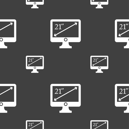 inches: diagonal of the monitor 21 inches icon sign. Seamless pattern on a gray background. Vector illustration
