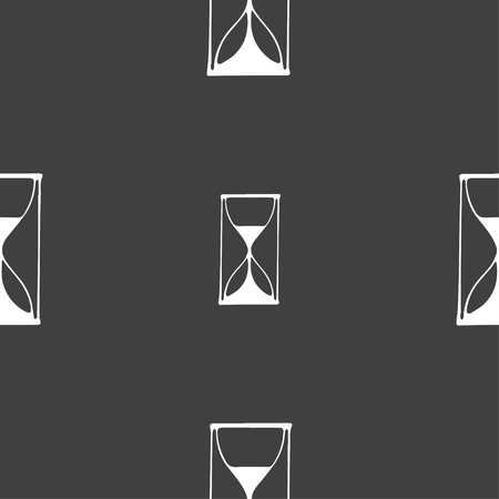 sand timer: Hourglass sign icon. Sand timer symbol. Seamless pattern on a gray background. Vector illustration