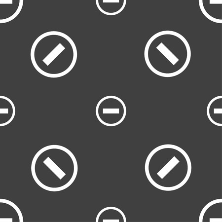 minus sign: Minus sign icon. Negative symbol. Zoom out. Seamless pattern on a gray background. Vector illustration