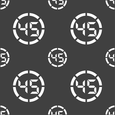 corner clock: 45 second stopwatch icon sign. Seamless pattern on a gray background. Vector illustration
