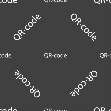 coded: Qr code sign icon. Scan code symbol. Seamless pattern on a gray background. Vector illustration Illustration
