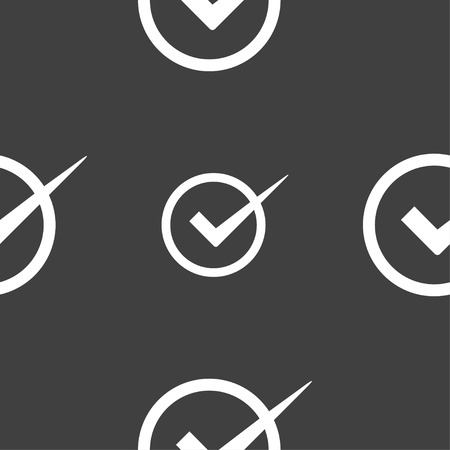 check mark sign: Check mark sign icon. Checkbox button. Seamless pattern on a gray background. Vector illustration Illustration