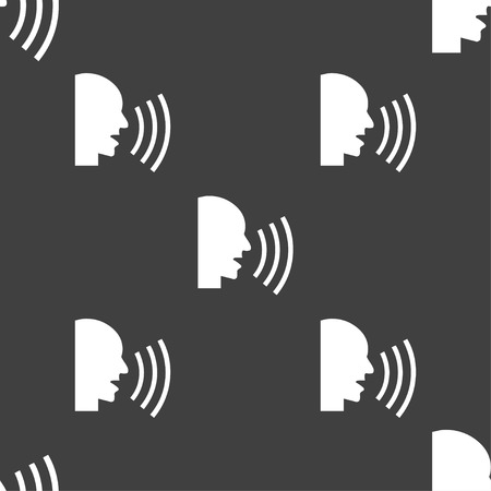 loudly: Talking Flat modern web icon. Seamless pattern on a gray background. Vector illustration