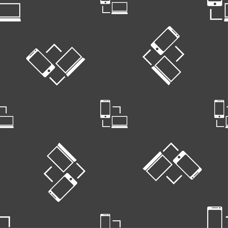 data synchronization: Synchronization sign icon. communicators sync symbol. Data exchange. Seamless pattern on a gray background. Vector illustration