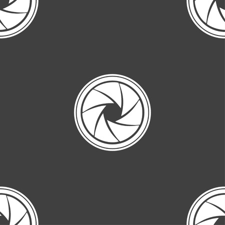 and aperture: diaphragm icon. Aperture sign. Seamless pattern on a gray background. Vector illustration Illustration