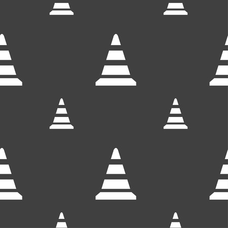 traffic pylon: road cone icon. Seamless pattern on a gray background. Vector illustration