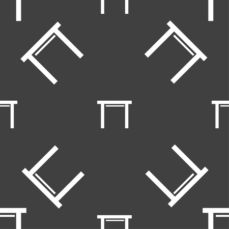 furnishing: stool seat icon sign. Seamless pattern on a gray background. Vector illustration