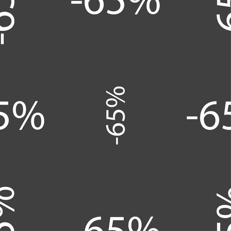 65: 65 percent discount sign icon. Sale symbol. Special offer label. Seamless pattern on a gray background. Vector illustration