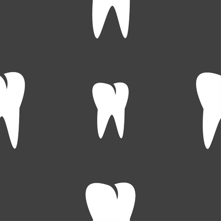 cavity braces: tooth icon. Seamless pattern on a gray background. Vector illustration