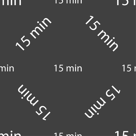 15: 15 minutes sign icon. Seamless pattern on a gray background. Vector illustration Illustration