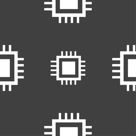 micro chip: Central Processing Unit Icon. Technology scheme circle symbol. Seamless pattern on a gray background. Vector illustration