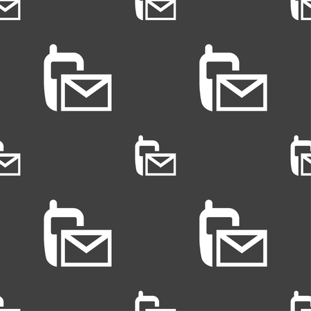 envelope icon: Mail icon. Envelope symbol. Message sms sign. Seamless pattern on a gray background. Vector illustration