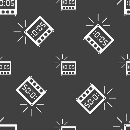 digital clock: digital Alarm Clock icon sign. Seamless pattern on a gray background. Vector illustration