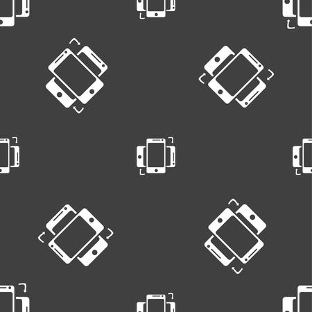 synchronization: Synchronization sign icon. smartphones sync symbol. Data exchange. Seamless pattern on a gray background. Vector illustration Illustration