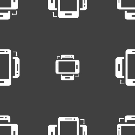 sync: Synchronization sign icon. smartphones sync symbol. Data exchange. Seamless pattern on a gray background. Vector illustration Illustration