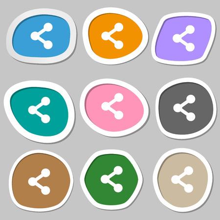 regular tetragon: Share  icon symbols. Multicolored paper stickers. Vector illustration