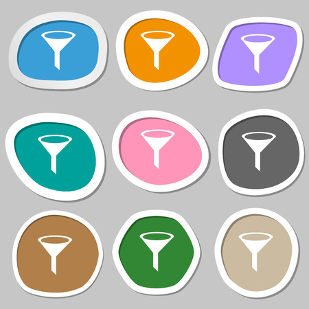 filtering: Funnel icon sign. Multicolored paper stickers. Vector illustration Illustration
