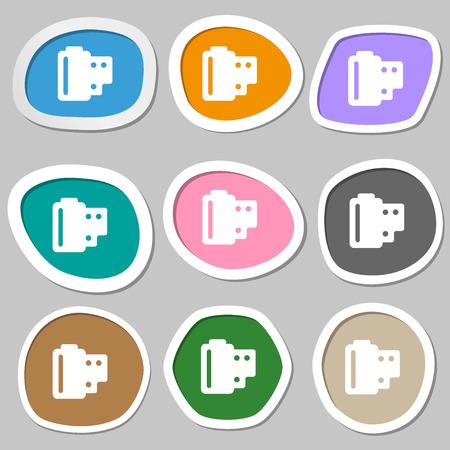 processed: 35 mm negative films  icon symbols. Multicolored paper stickers. Vector illustration