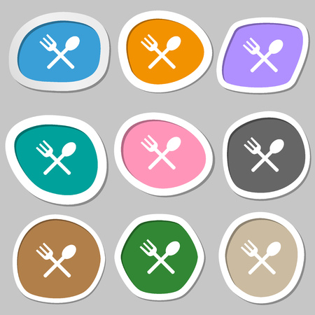 crosswise: Fork and spoon crosswise, Cutlery, Eat icon sign. Multicolored paper stickers. Vector illustration
