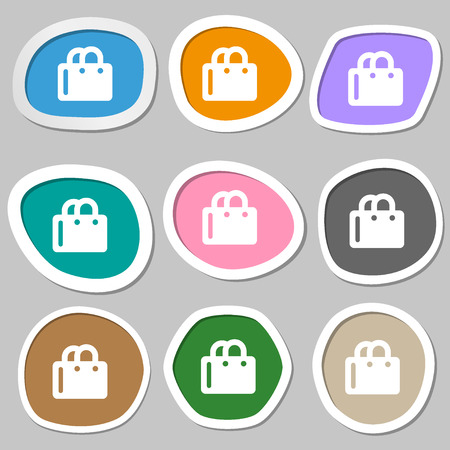 shopping bag icon: shopping bag icon symbols. Multicolored paper stickers. Vector illustration