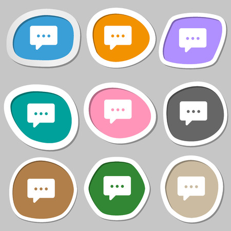halfone: Cloud of thoughts icon symbols. Multicolored paper stickers. Vector illustration