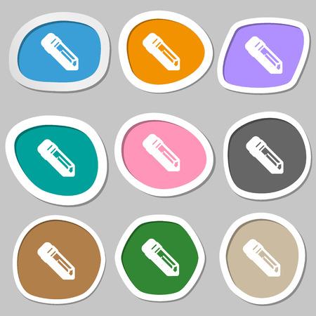 secretarial: pencil icon symbols. Multicolored paper stickers. Vector illustration