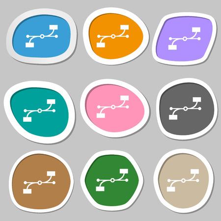 bezier: Bezier Curve icon sign. Multicolored paper stickers. Vector illustration