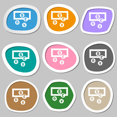 time account: currencies of the world icon symbols. Multicolored paper stickers. Vector illustration