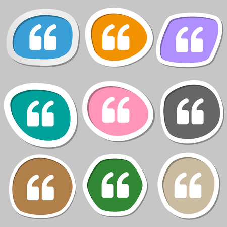 inverted: Double quotes at the beginning of words  icon symbols. Multicolored paper stickers. Vector illustration