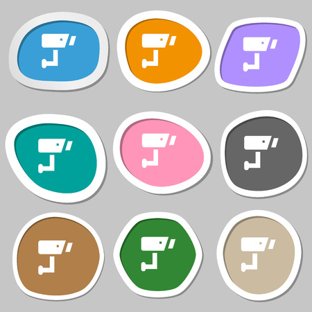closed circuit television: Surveillance Camera  icon symbols. Multicolored paper stickers. Vector illustration