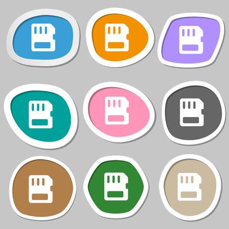 memory card: compact memory card  icon symbols. Multicolored paper stickers. Vector illustration