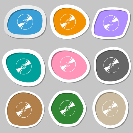 rewritable: Cd, DVD, compact disk, blue ray icon symbols. Multicolored paper stickers. Vector illustration