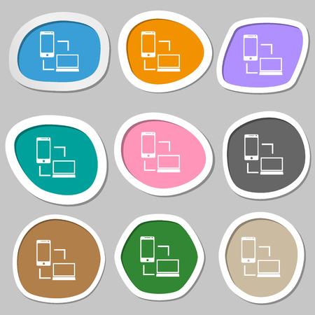 data synchronization: Synchronization sign icon. communicators sync symbol. Data exchange. Multicolored paper stickers. Vector illustration
