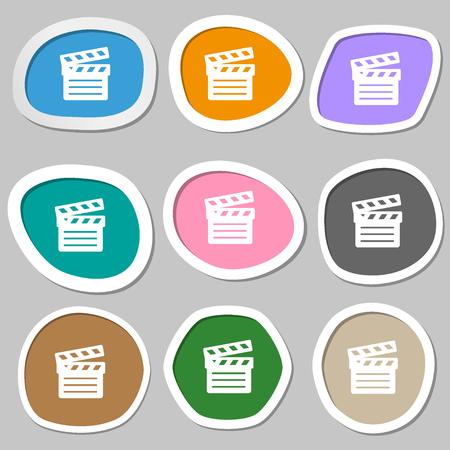 plate camera: Cinema Clapper icon symbols. Multicolored paper stickers. Vector illustration