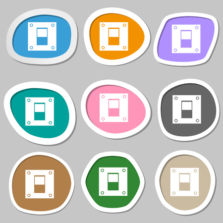 shutdown: Power switch icon sign. Multicolored paper stickers. Vector illustration