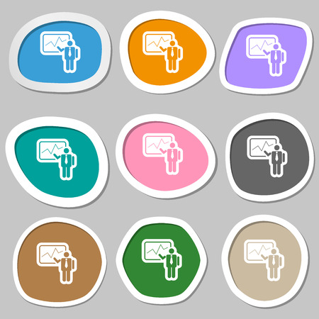 report icon: businessman making report icon symbols. Multicolored paper stickers. Vector illustration