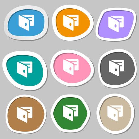 business card holder: eWallet, Electronic wallet, Business Card Holder  icon symbols. Multicolored paper stickers. Vector illustration Illustration