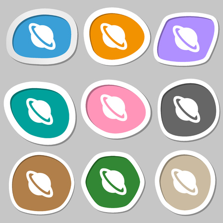 jupiter: Jupiter planet  icon symbols. Multicolored paper stickers. Vector illustration Illustration