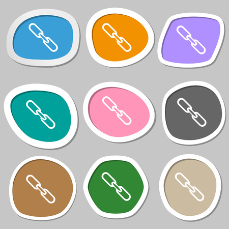 hyperlink: Link sign icon. Hyperlink chain symbol. Multicolored paper stickers. Vector illustration