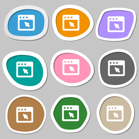 dialog box: the dialog box icon symbols. Multicolored paper stickers. Vector illustration Illustration