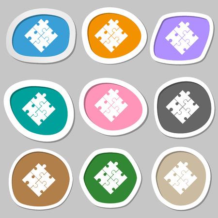 puzzle corners: Puzzle piece icon sign. Multicolored paper stickers. Vector illustration Illustration