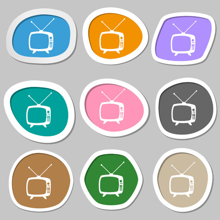 television set: Retro TV mode sign icon. Television set symbol. Multicolored paper stickers. Vector illustration