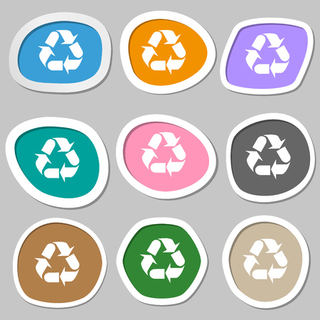 processing: processing icon sign. Multicolored paper stickers. Vector illustration