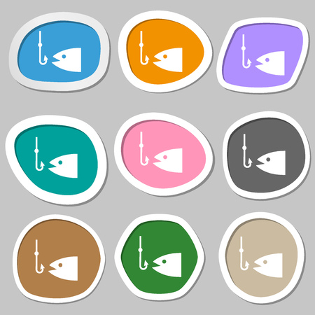 floater: Fishing icon symbols. Multicolored paper stickers. Vector illustration Illustration