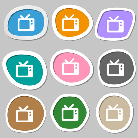 television aerial: Retro TV  icon symbols. Multicolored paper stickers. Vector illustration