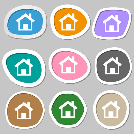 navigation buttons: Home sign icon. Main page button. Navigation symbol. Multicolored paper stickers. Vector illustration