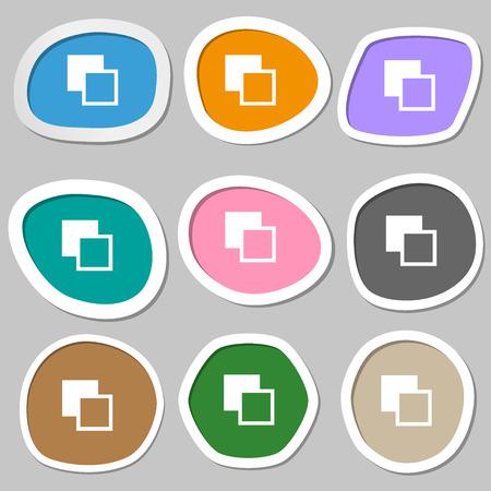 photoshop: Active color toolbar  icon symbols. Multicolored paper stickers. Vector illustration Illustration