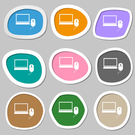 ico: Computer widescreen monitor, mouse sign ico. Multicolored paper stickers. Vector illustration Illustration